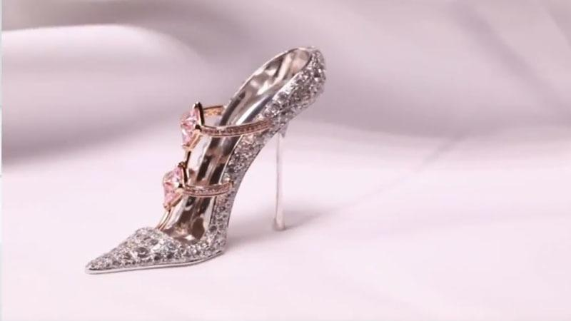 f36eb157fe7a This screenshot from a video posted by Reggie Hung on YouTube shows a  diamond-encrusted high heel shoe by Genavant.