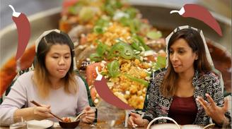 Joyce and Natasha try new school Chinese food. 