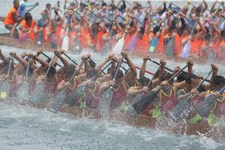 Rowers go all out in dragon boat race organized to mark the Dragon Boat Festival at Aberdeen in Hong Kong.
