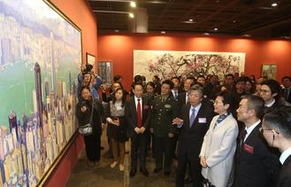 132 artworks by artists from the HKSAR and the mainland, as well as 60 paintings from local students are on display at the art exhibition.