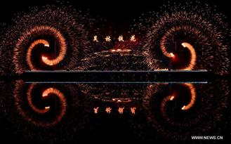 China has created a unique fireworks show by throwing molten iron into the night sky to create a spectacular show.