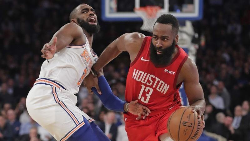9ec657a936dc Houston Rockets  James Harden (13) drives past New York Knicks  Tim  Hardaway Jr. (3) during the first half of an NBA basketball game Jan 23