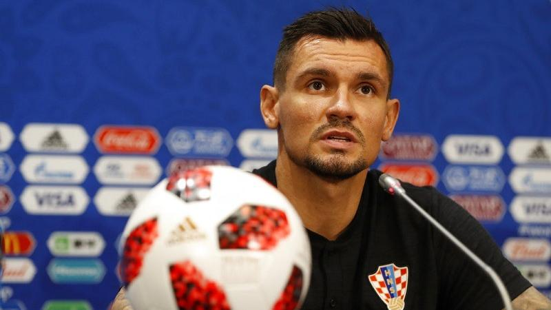40c6bea7b Croatia s Dejan Lovren answers a question during a press conference at  Luzhniki Stadium on the eve of the semifinal match between Croatia and  England at the ...