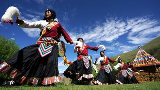 Traditional Tibetan dance form kept alive by inheritor of cultural heritage.