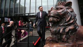 The two statues located at HSBC's HQ in Central were unveiled Thursday following 9 months of restoration work after they were vandalized in January.
