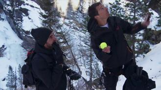 The tennis legend joined British adventurer Grylls on a trip through the Swiss Alps, where they encountered adventures such as snacking on frozen fish eyeballs.