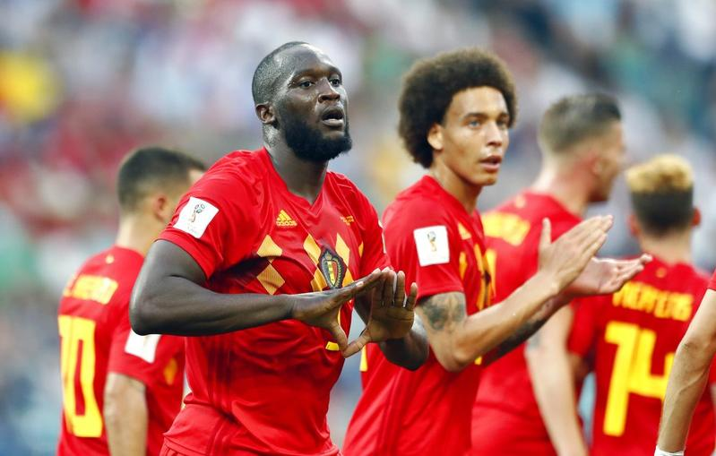 Belgium s Romelu Lukaku celebrates after he scored his side s second goal  during the 2018 World Cup Group G match between Belgium and Panama at the  Fisht ... da006e1e2
