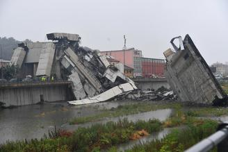 A bridge on a main highway linking Italy with France collapsed Tuesday in the Italian port city of Genoa during a sudden, violent storm.