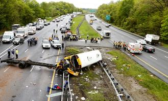 Local officials said the crash occurred about 10:20 am in Mount Olive Towns in northern New Jersey's Morris County, 38 students and 7 adults were in the car.