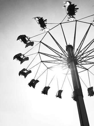 Visitors enjoy Ocean Park Hong Kong's swing ride before the coronavirus epidemic forced the park to close.