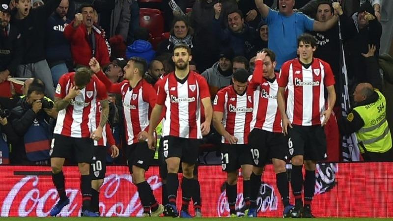 16212a18310d1 Athletic Bilbao s players celebrate after Spanish forward Inaki Williams  scored his second goal during the Spanish League football match between  Athletic ...