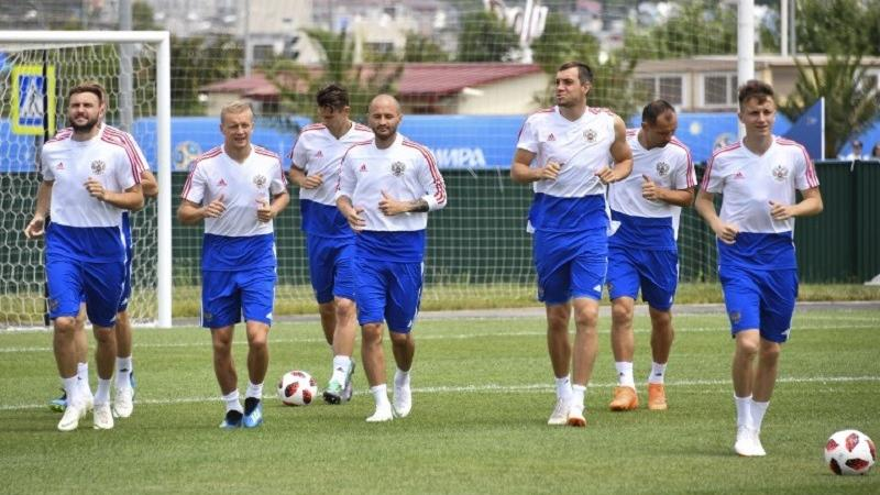 e9899ac8522 Players from the Russian national football team attend a training session  at the Park Arena in Sochi on July 6