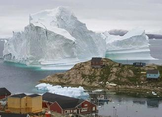 Dozens of village residents were evacuated to higher ground last week due to concerns the 11 million-ton iceberg might break apart.