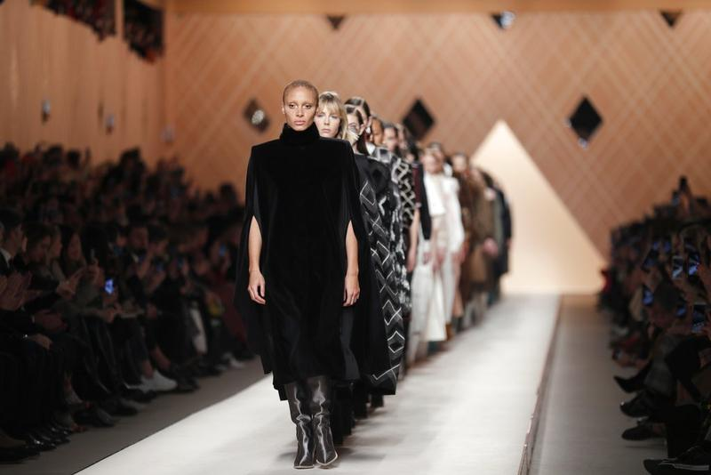 a64507063cc3 Models wear creations as part of the Fendi women s Fall Winter 2018-2019  collection