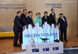 Merkel visited innovation hub in Shenzhen, China's Guangdong province.