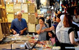 People in Damascus started shopping for the holiday of Eid al-Adha which will be observed next week by Muslims around the world.