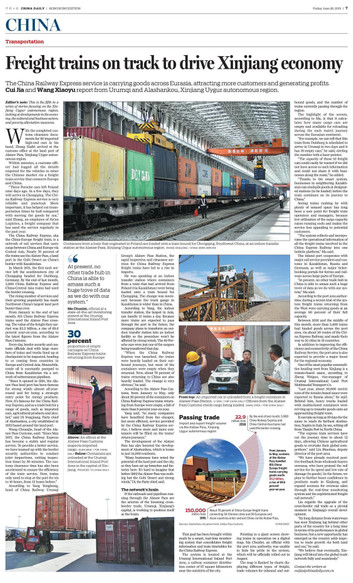 Freight trains on track to drive Xinjiang economy | In-Depth